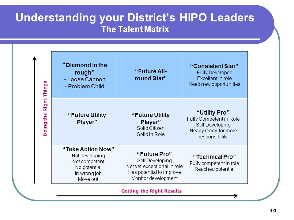 "Understanding your District's HIPO Leaders The Talent Matrix 14 "" Diamond in the rough"" - Loose Cannon - Problem Child ""Consistent Star"" Fully Develop"