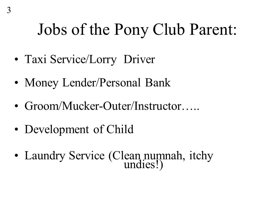 Jobs of the Pony Club Parent: Taxi Service/Lorry Driver Money Lender/Personal Bank Groom/Mucker-Outer/Instructor…..