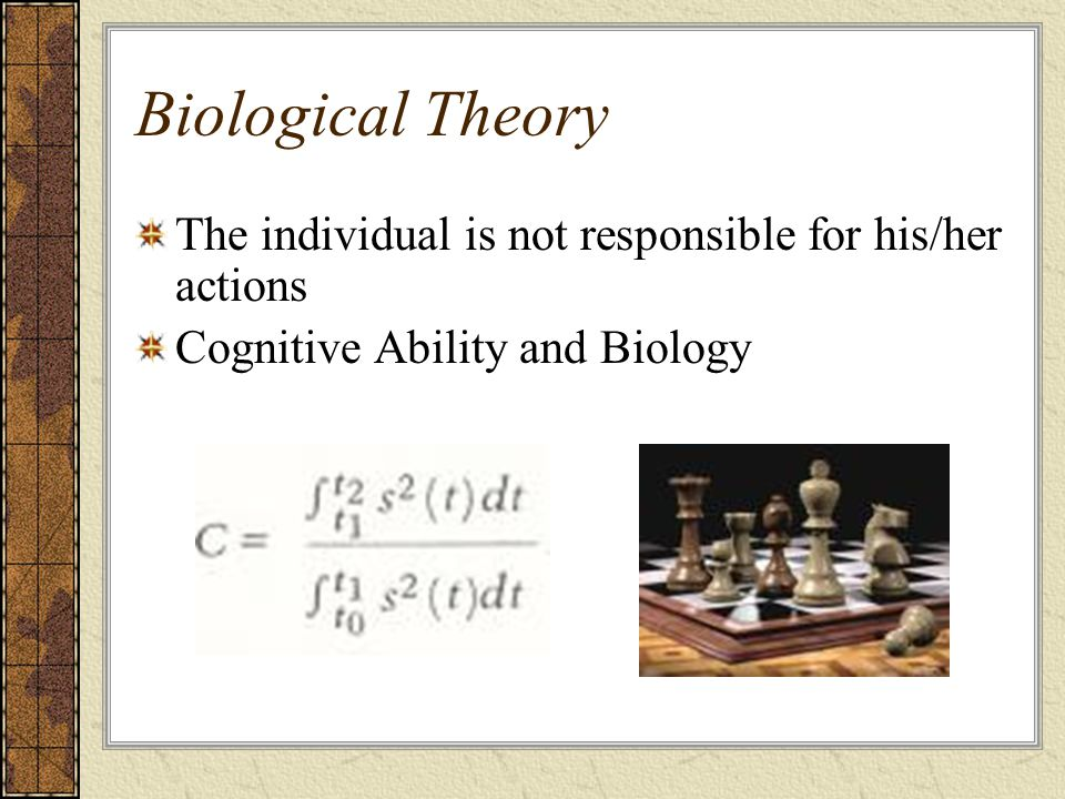Biological Theory The individual is not responsible for his/her actions Cognitive Ability and Biology