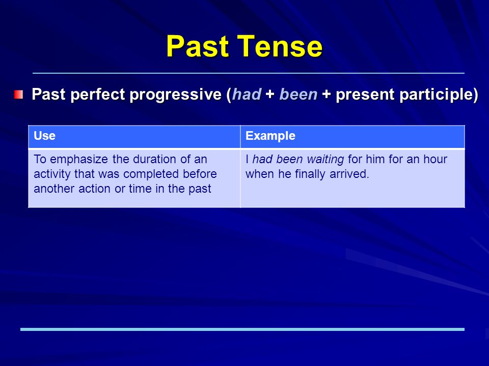 Past Tense Past perfect progressive (had + been + present participle) UseExample To emphasize the duration of an activity that was completed before another action or time in the past I had been waiting for him for an hour when he finally arrived.