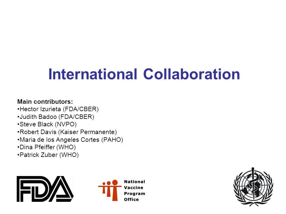 International Collaboration Main contributors: Hector Izurieta (FDA/CBER) Judith Badoo (FDA/CBER) Steve Black (NVPO) Robert Davis (Kaiser Permanente) Maria de los Angeles Cortes (PAHO) Dina Pfeiffer (WHO) Patrick Zuber (WHO)