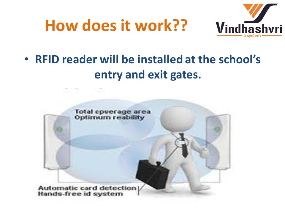 How does it work RFID reader will be installed at the school's entry and exit gates.