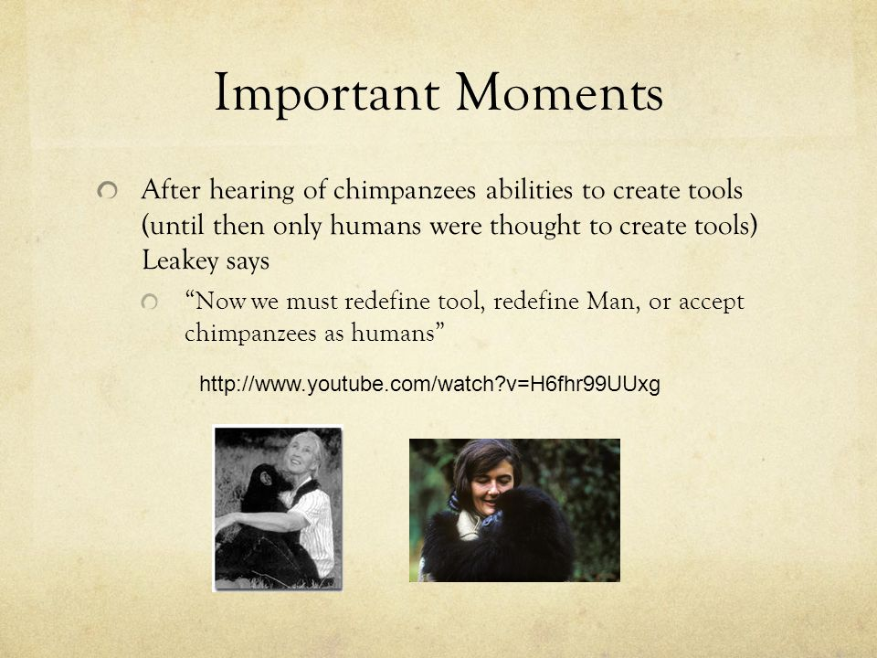 Important Moments After hearing of chimpanzees abilities to create tools (until then only humans were thought to create tools) Leakey says Now we must redefine tool, redefine Man, or accept chimpanzees as humans http://www.youtube.com/watch v=H6fhr99UUxg