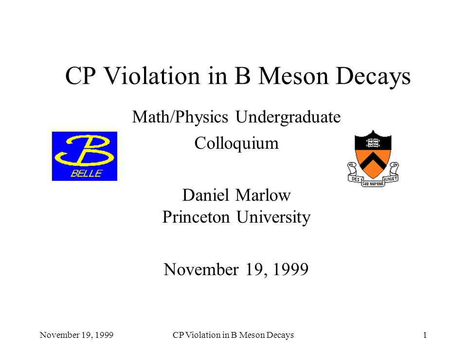November 19, 1999CP Violation in B Meson Decays12 Parity Falls In particular, neutrinos, which are massless (or nearly so), have a definite ``handedness''.