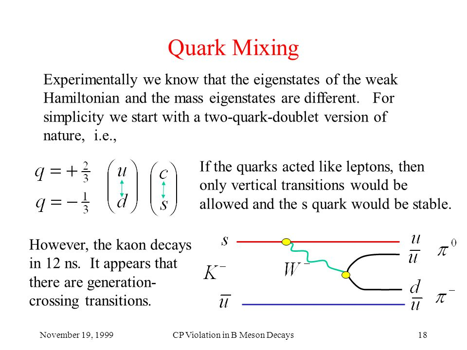November 19, 1999CP Violation in B Meson Decays18 Quark Mixing Experimentally we know that the eigenstates of the weak Hamiltonian and the mass eigenstates are different.