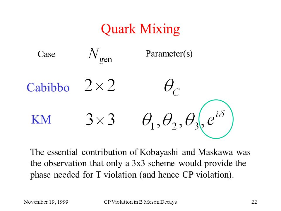 November 19, 1999CP Violation in B Meson Decays22 Quark Mixing Case Parameter(s) The essential contribution of Kobayashi and Maskawa was the observation that only a 3x3 scheme would provide the phase needed for T violation (and hence CP violation).