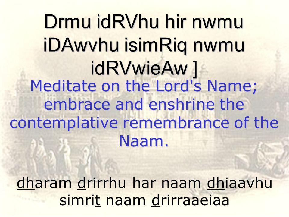 dharam drirrhu har naam dhiaavhu simrit naam drirraaeiaa Drmu idRVhu hir nwmu iDAwvhu isimRiq nwmu idRVwieAw ] Meditate on the Lord's Name; embrace an