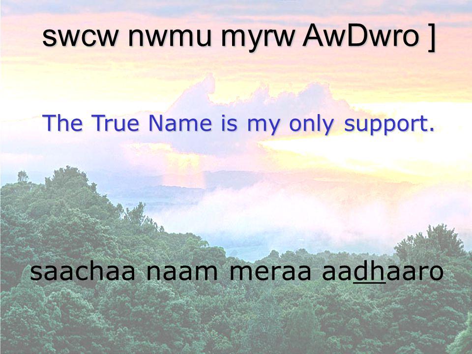 saachaa naam meraa aadhaaro swcw nwmu myrw AwDwro ] The True Name is my only support.