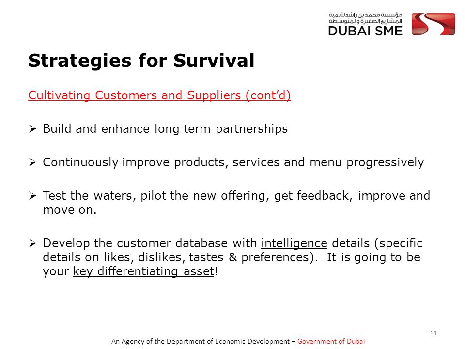 An Agency of the Department of Economic Development – Government of Dubai Strategies for Survival Cultivating Customers and Suppliers (cont'd)  Build and enhance long term partnerships  Continuously improve products, services and menu progressively  Test the waters, pilot the new offering, get feedback, improve and move on.