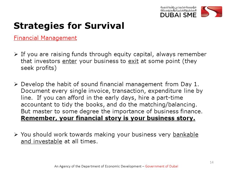 An Agency of the Department of Economic Development – Government of Dubai Strategies for Survival Financial Management  If you are raising funds through equity capital, always remember that investors enter your business to exit at some point (they seek profits)  Develop the habit of sound financial management from Day 1.