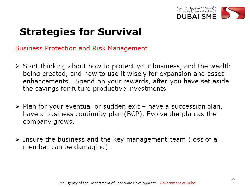 An Agency of the Department of Economic Development – Government of Dubai Strategies for Survival Business Protection and Risk Management  Start thinking about how to protect your business, and the wealth being created, and how to use it wisely for expansion and asset enhancements.