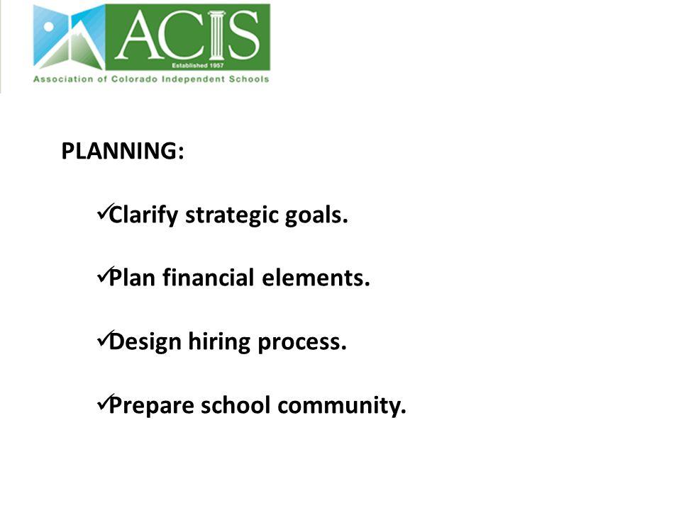 PLANNING: Clarify strategic goals. Plan financial elements. Design hiring process. Prepare school community.