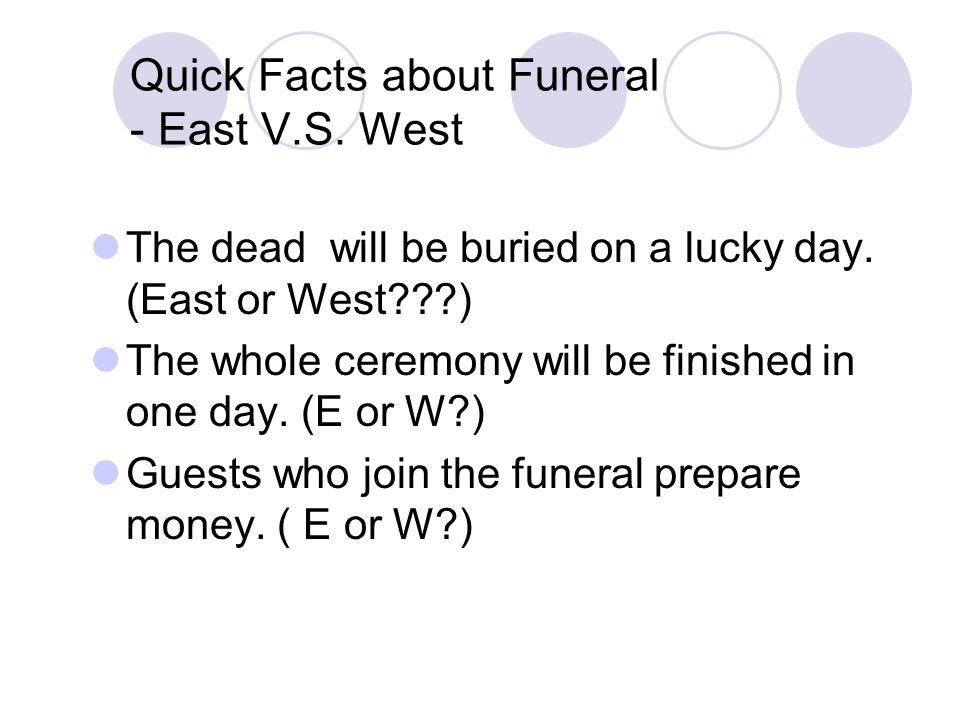 Quick Facts about Funeral - East V.S.West The dead will be buried on a lucky day.