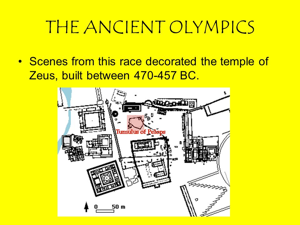 THE ANCIENT OLYMPICS Scenes from this race decorated the temple of Zeus, built between 470-457 BC.