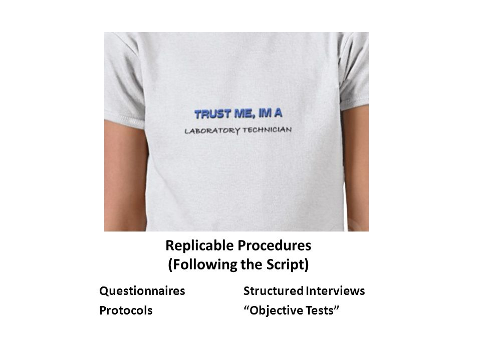Replicable Procedures (Following the Script) QuestionnairesStructured Interviews Protocols Objective Tests