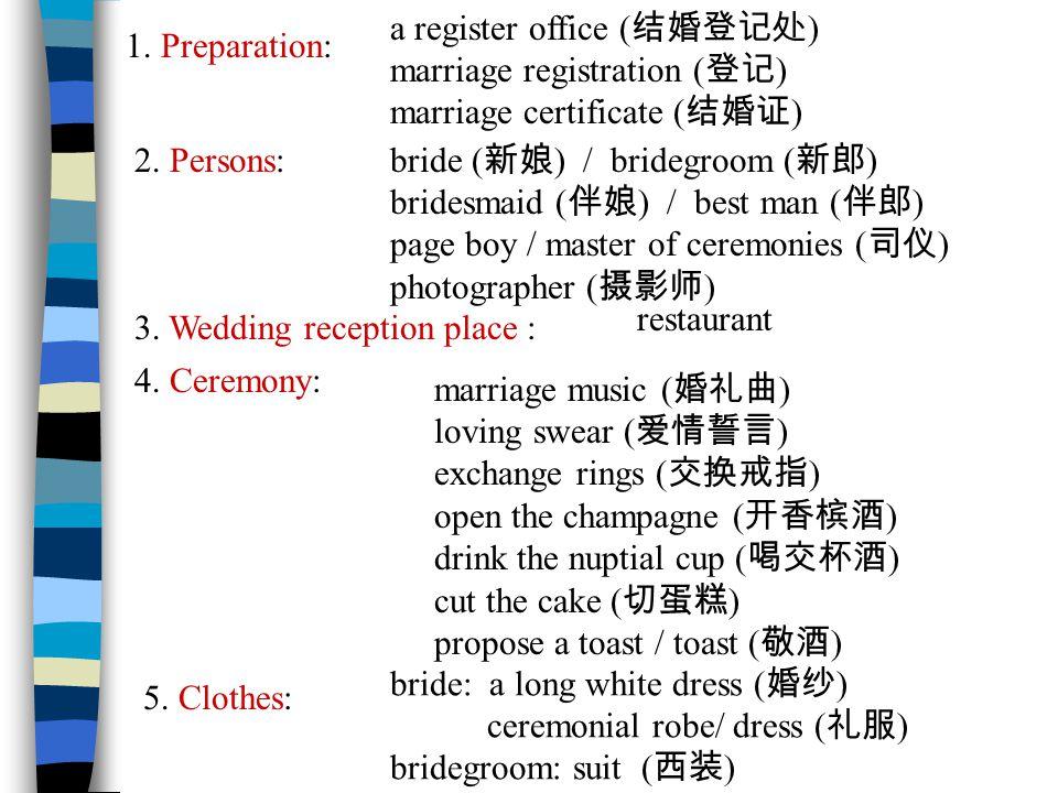 1. Preparation: a register office ( 结婚登记处 ) marriage registration ( 登记 ) marriage certificate ( 结婚证 ) 2. Persons: bride ( 新娘 ) / bridegroom ( 新郎 ) bri