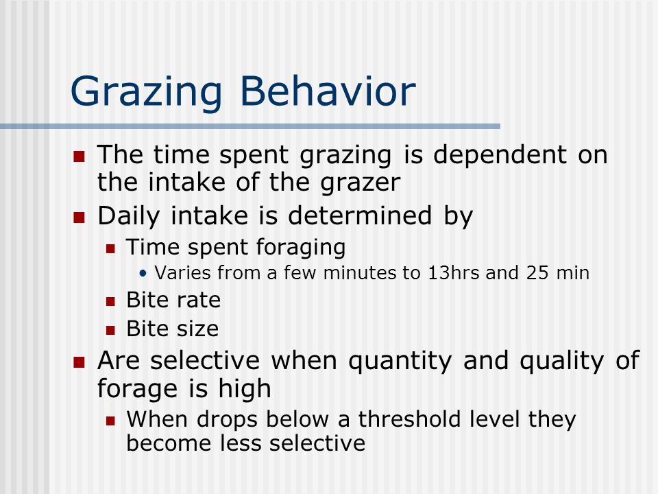 Grazing Behavior The time spent grazing is dependent on the intake of the grazer Daily intake is determined by Time spent foraging Varies from a few minutes to 13hrs and 25 min Bite rate Bite size Are selective when quantity and quality of forage is high When drops below a threshold level they become less selective