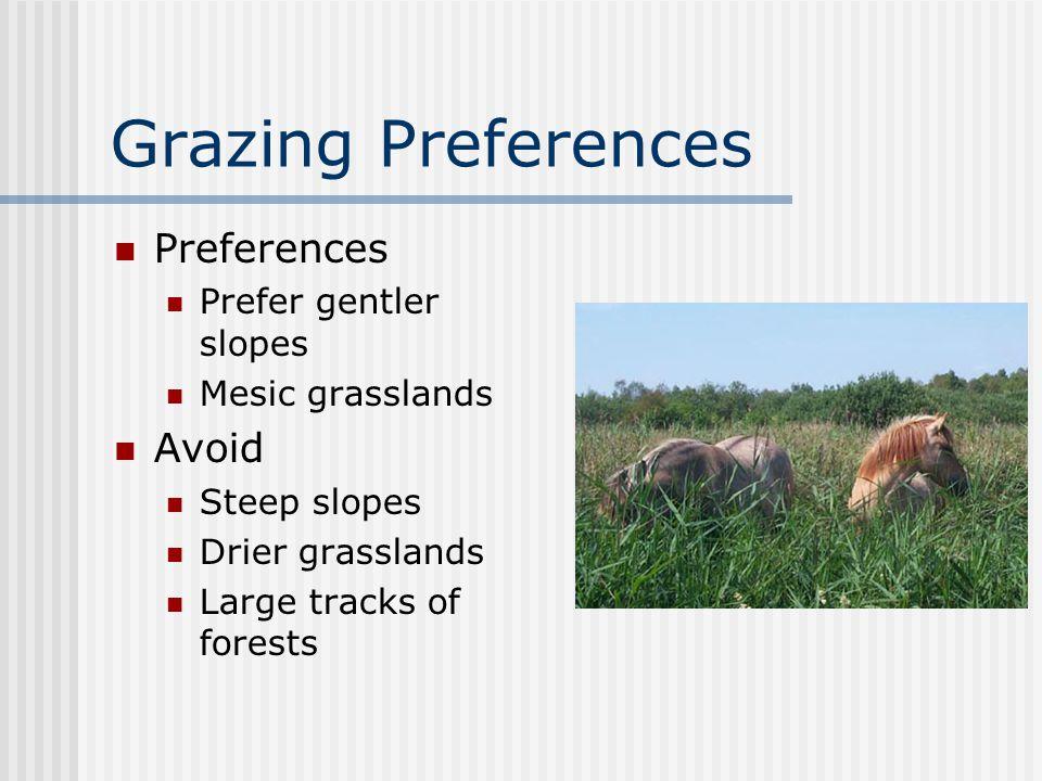 Grazing Preferences Preferences Prefer gentler slopes Mesic grasslands Avoid Steep slopes Drier grasslands Large tracks of forests