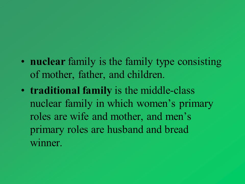 nuclear family is the family type consisting of mother, father, and children.