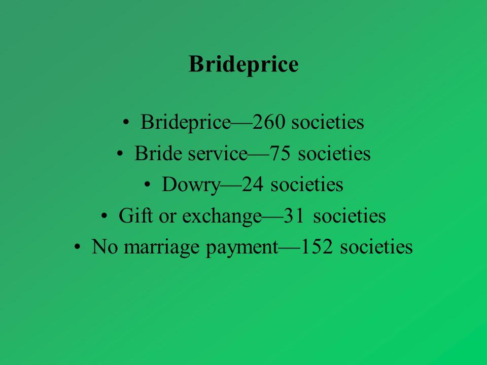 Brideprice Brideprice—260 societies Bride service—75 societies Dowry—24 societies Gift or exchange—31 societies No marriage payment—152 societies