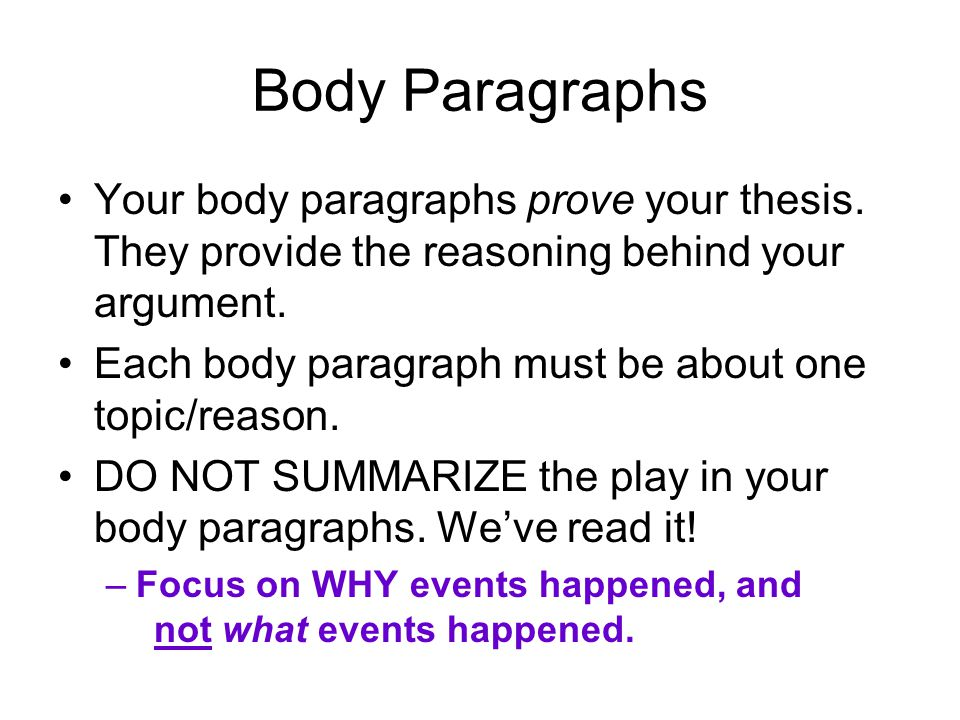 Body Paragraphs In your body paragraphs, you are making claims about why things happened.