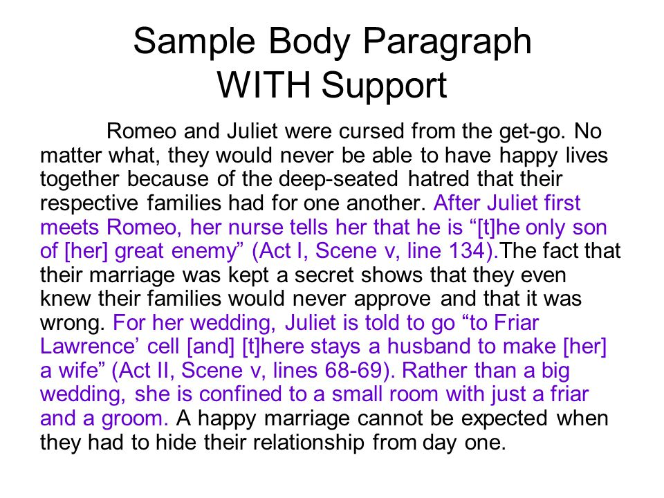 Sample Body Paragraph WITH Support Romeo and Juliet were cursed from the get-go.