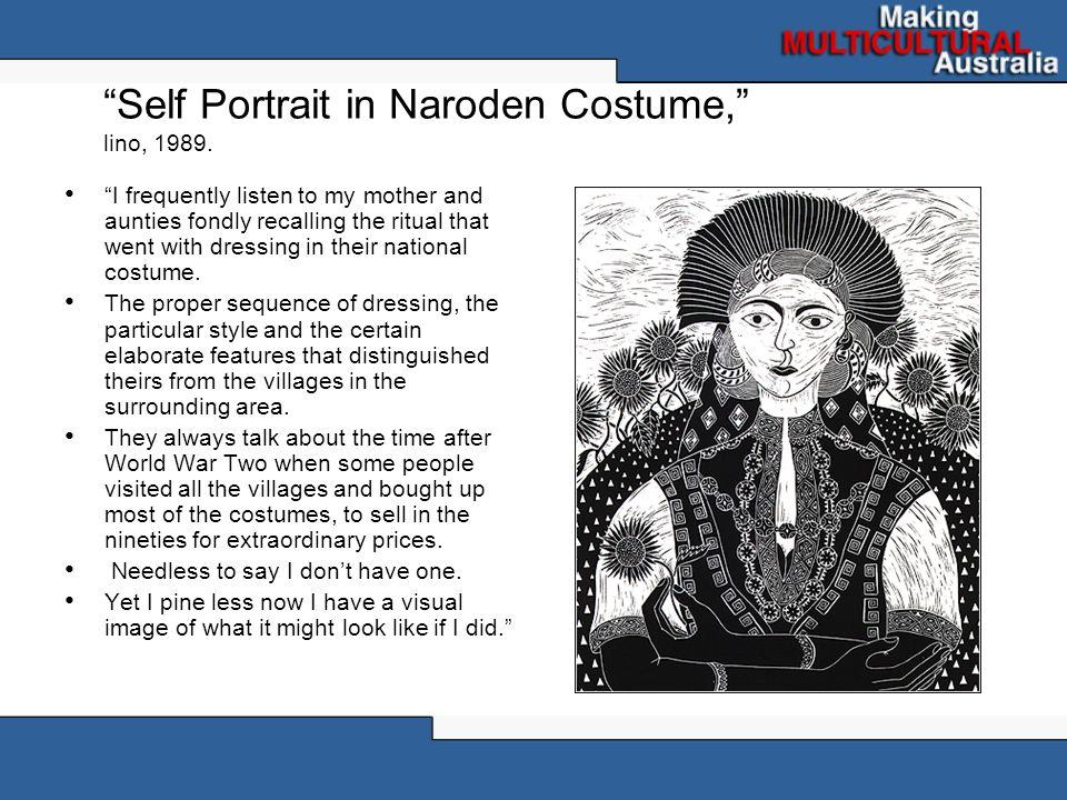 Self Portrait in Naroden Costume, lino, 1989.
