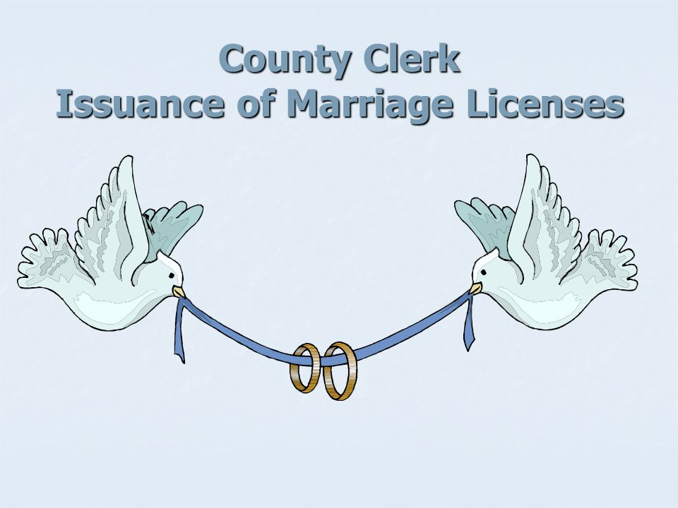 County Clerk Issuance of Marriage Licenses