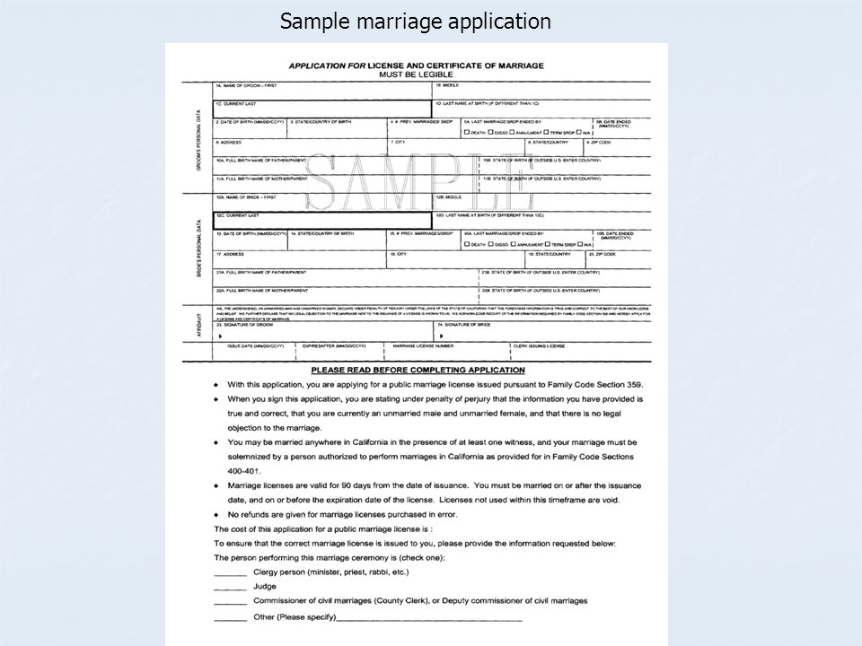 Sample marriage application