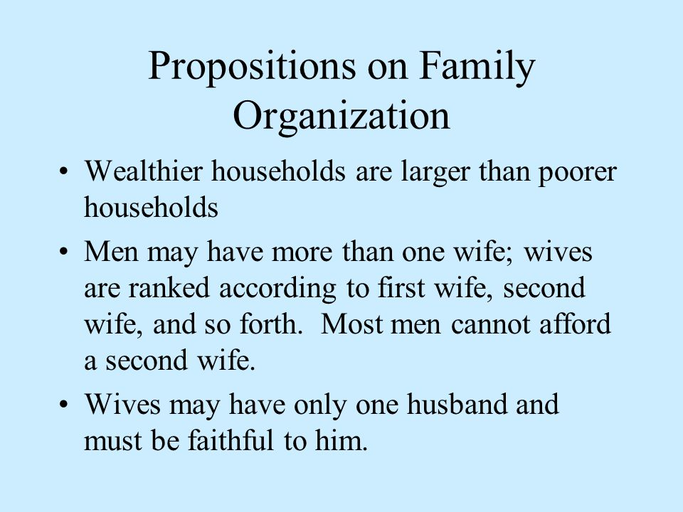 Propositions on Family Organization Wealthier households are larger than poorer households Men may have more than one wife; wives are ranked according to first wife, second wife, and so forth.