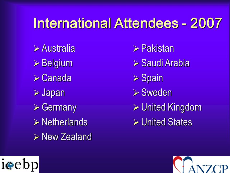 International Attendees - 2007  Australia  Belgium  Canada  Japan  Germany  Netherlands  New Zealand  Pakistan  Saudi Arabia  Spain  Sweden  United Kingdom  United States