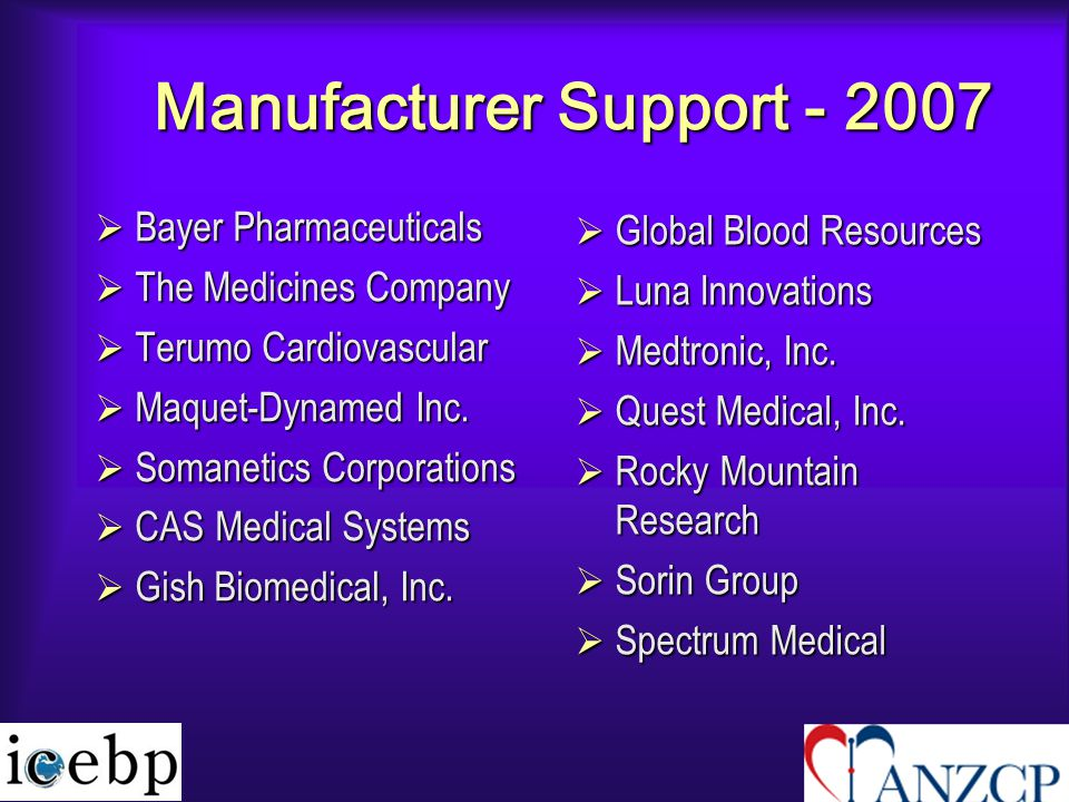 Manufacturer Support - 2007  Bayer Pharmaceuticals  The Medicines Company  Terumo Cardiovascular  Maquet-Dynamed Inc.