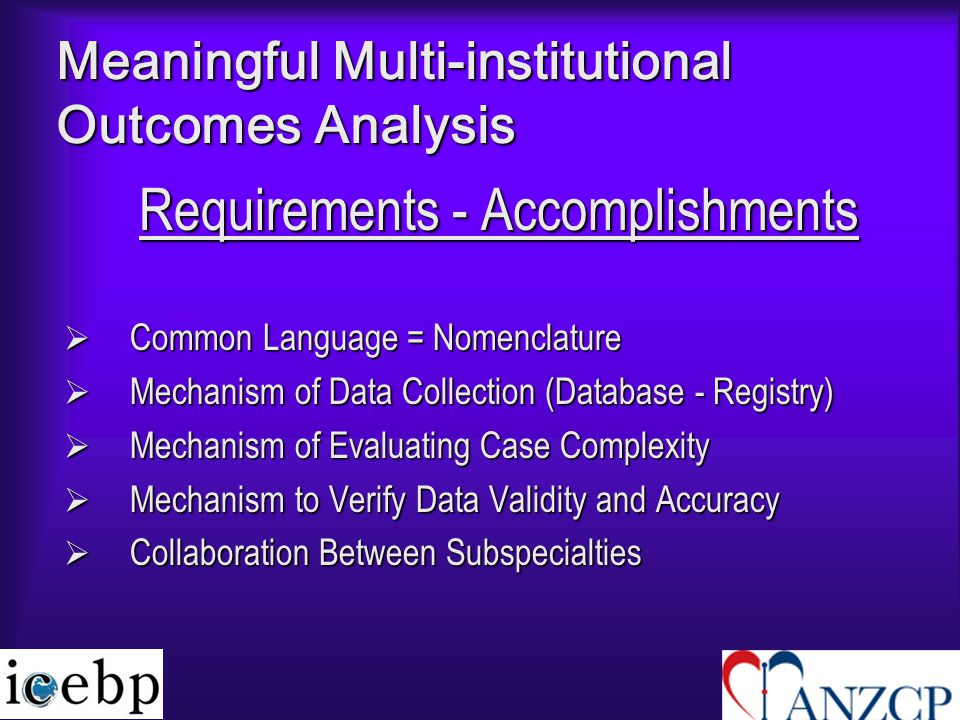 Meaningful Multi-institutional Outcomes Analysis Requirements - Accomplishments  Common Language = Nomenclature  Mechanism of Data Collection (Database - Registry)  Mechanism of Evaluating Case Complexity  Mechanism to Verify Data Validity and Accuracy  Collaboration Between Subspecialties