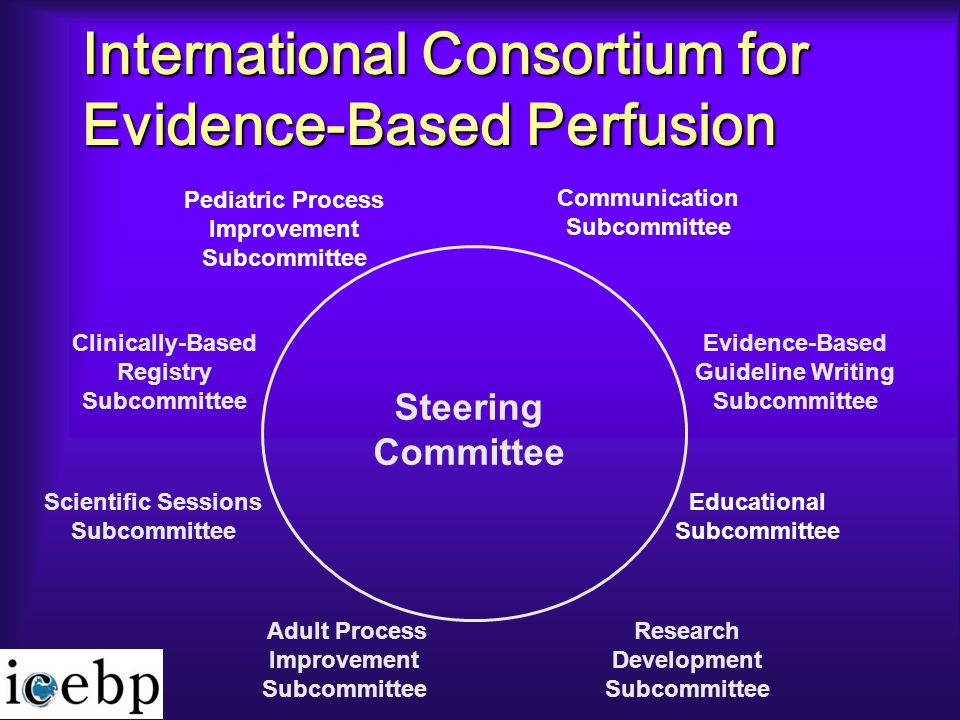 International Consortium for Evidence-Based Perfusion Clinically-Based Registry Subcommittee Pediatric Process Improvement Subcommittee Communication Subcommittee Evidence-Based Guideline Writing Subcommittee Research Development Subcommittee Educational Subcommittee Scientific Sessions Subcommittee Adult Process Improvement Subcommittee Steering Committee
