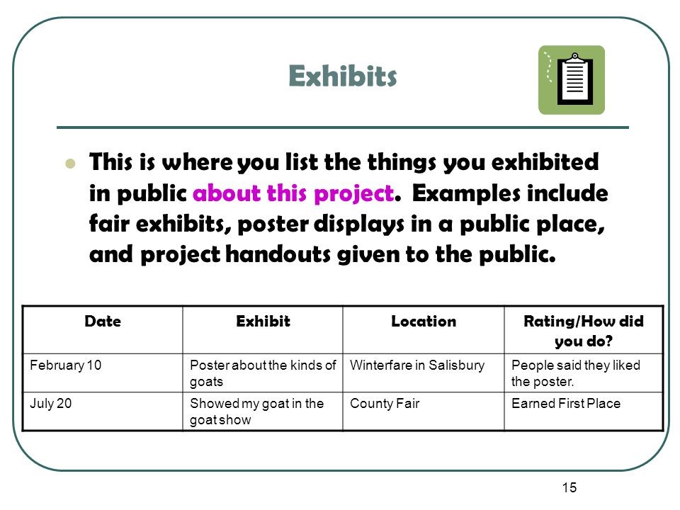 15 Exhibits This is where you list the things you exhibited in public about this project. Examples include fair exhibits, poster displays in a public