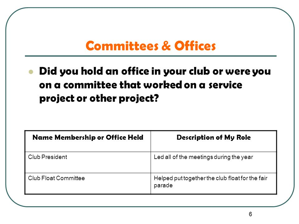 6 Committees & Offices Did you hold an office in your club or were you on a committee that worked on a service project or other project? Name Membersh