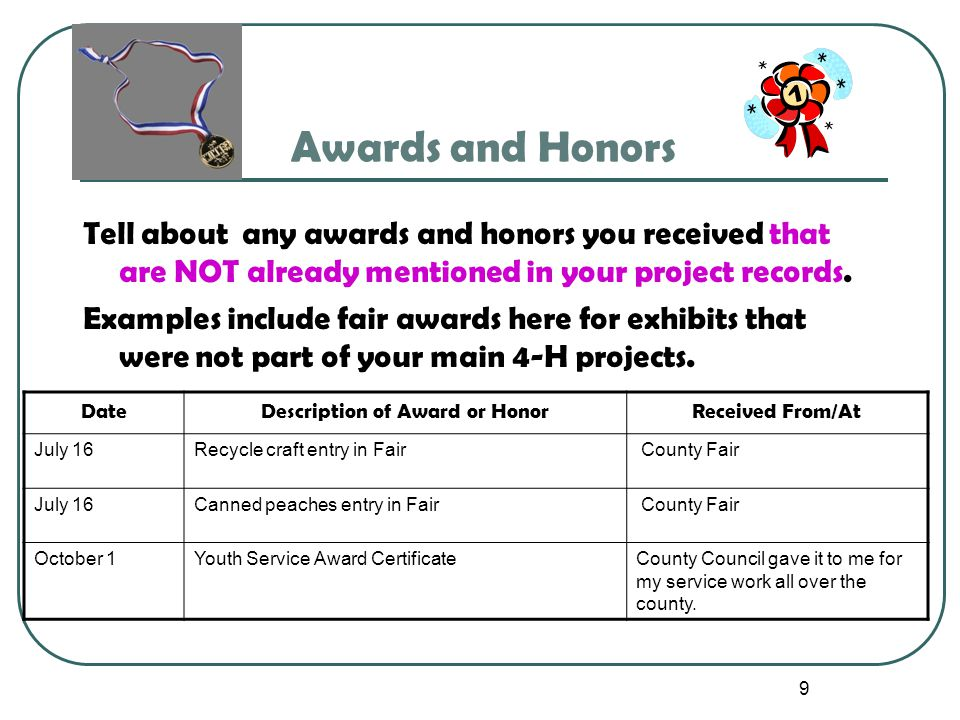 9 Awards and Honors Tell about any awards and honors you received that are NOT already mentioned in your project records. Examples include fair awards