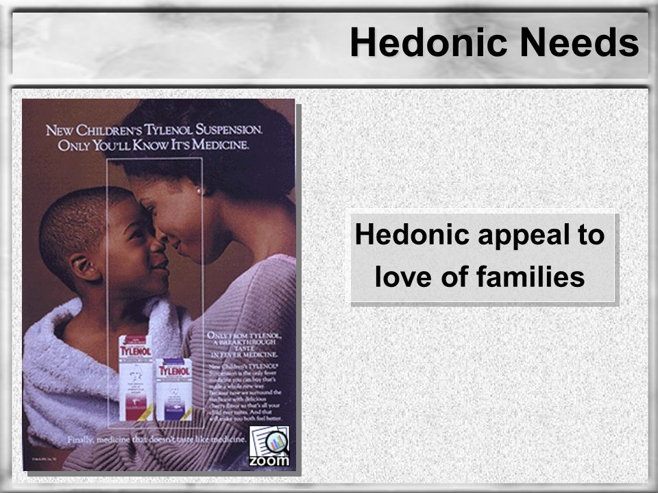 Hedonic Needs Hedonic appeal to love of families