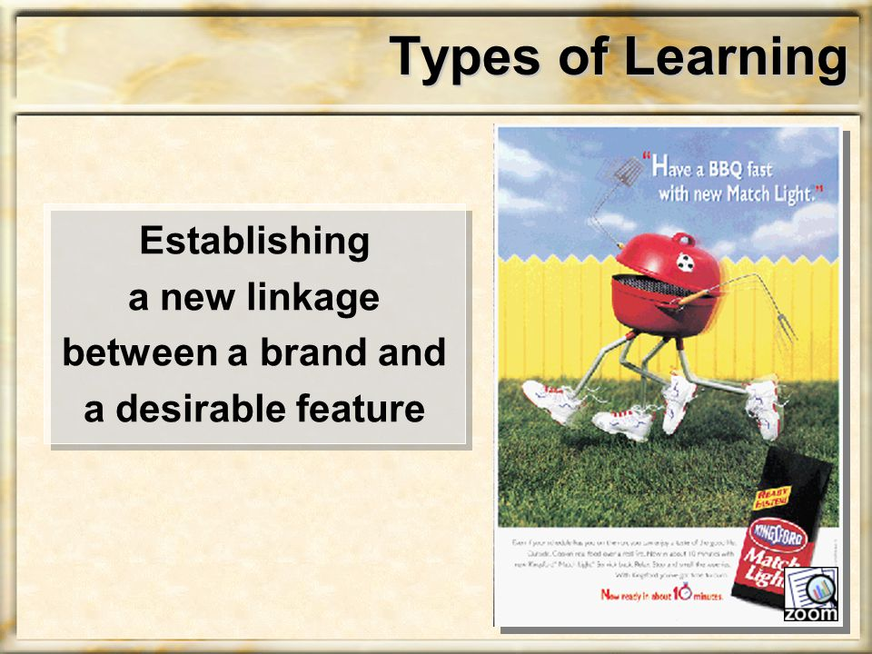 Types of Learning Establishing a new linkage between a brand and a desirable feature