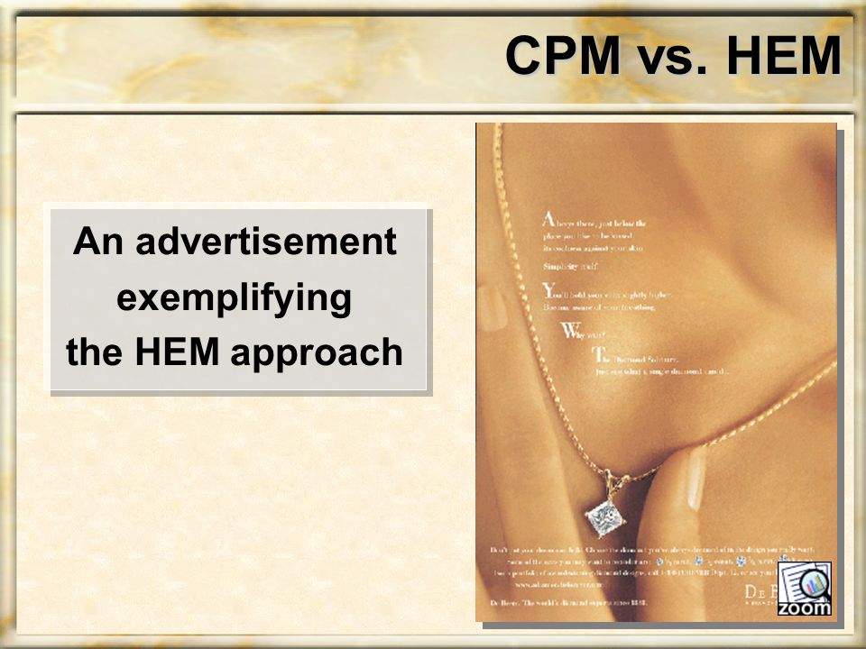 CPM vs. HEM An advertisement exemplifying the HEM approach