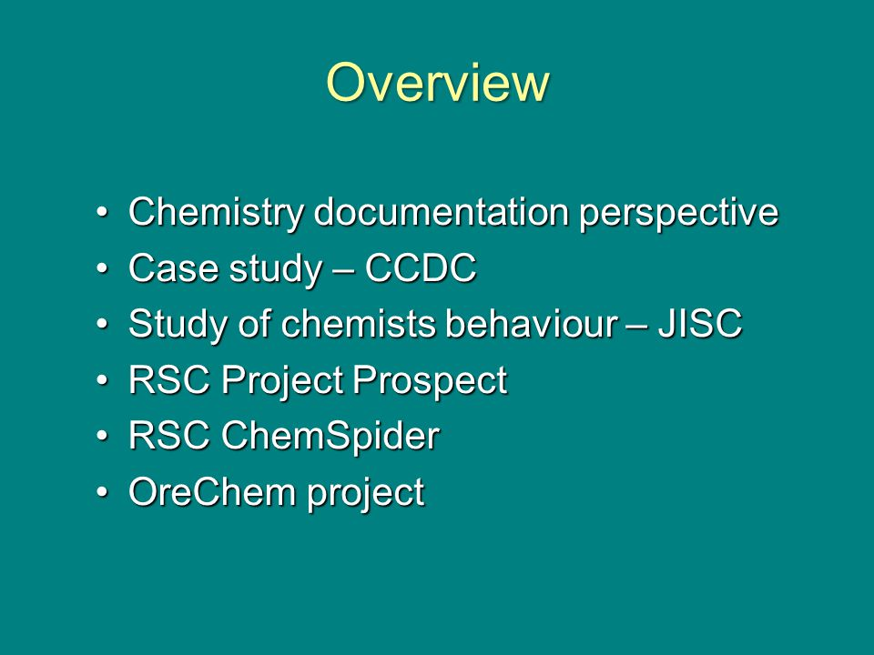 Background to the study We researched the needs of academics in two specific areas, economics and chemistry.We researched the needs of academics in two specific areas, economics and chemistry.