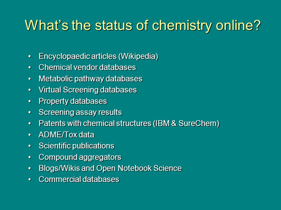 Standards = longevity Help implement and develop standards –Open ontologies for chemistry –InChI Trust –How to publish this - pre-competition