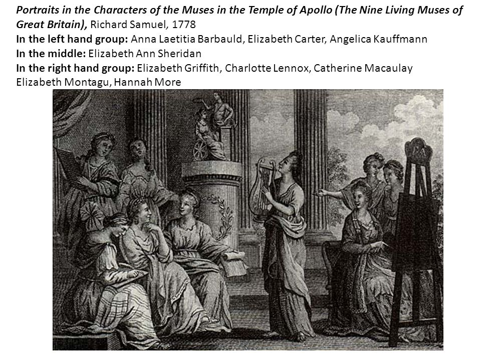 Portraits in the Characters of the Muses in the Temple of Apollo (The Nine Living Muses of Great Britain), Richard Samuel, 1778 In the left hand group