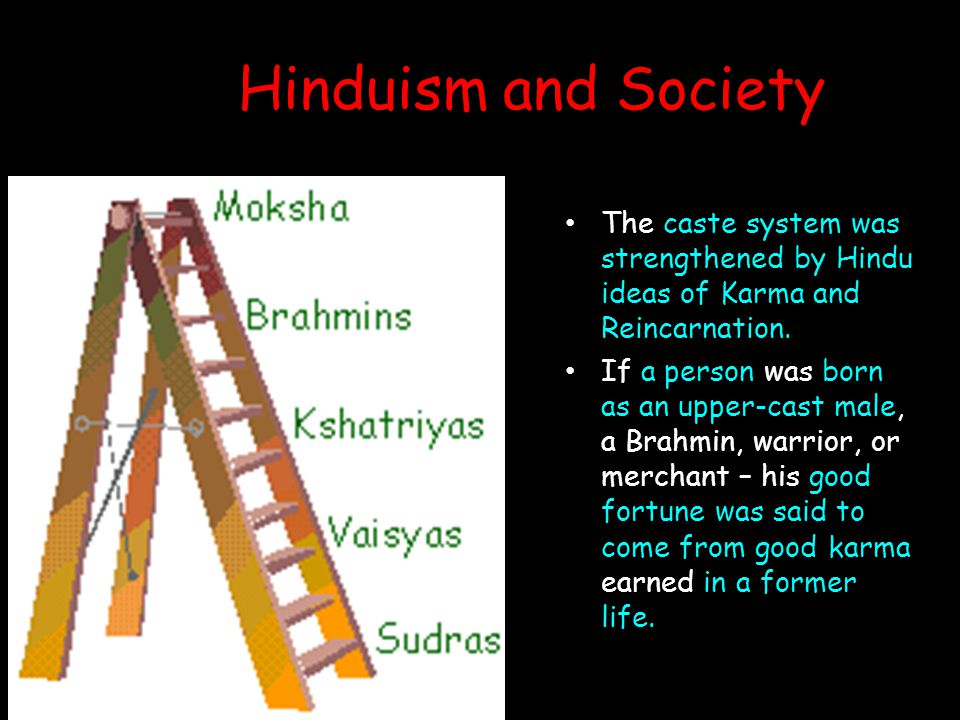 Hinduism and Society The caste system was strengthened by Hindu ideas of Karma and Reincarnation. If a person was born as an upper-cast male, a Brahmi