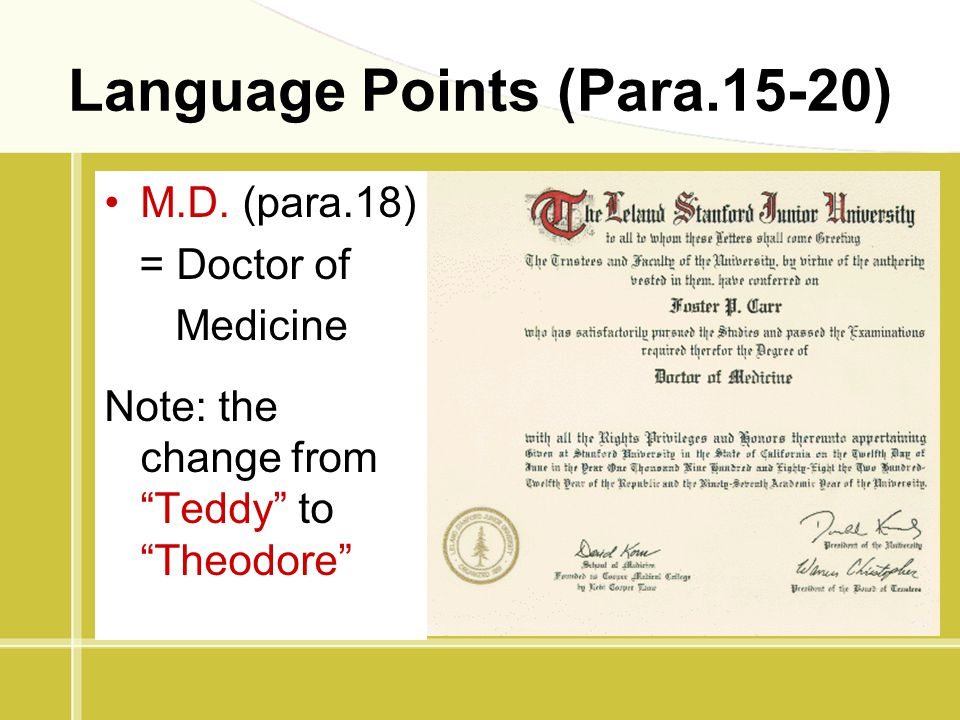 "Language Points (Para.15-20) M.D. (para.18) = Doctor of Medicine Note: the change from ""Teddy"" to ""Theodore"""