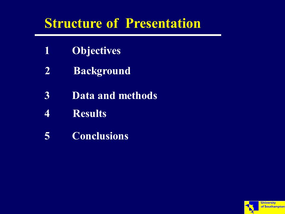 Structure of Presentation 2 Background 3 Data and methods 4 Results 5 Conclusions 1 Objectives