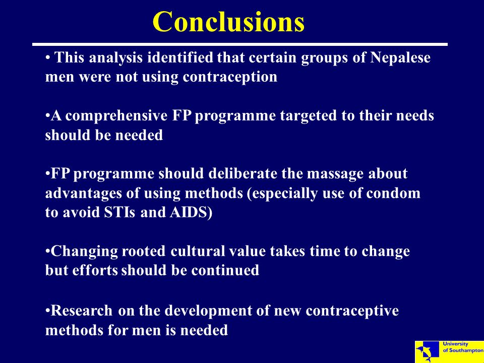 This analysis identified that certain groups of Nepalese men were not using contraception A comprehensive FP programme targeted to their needs should