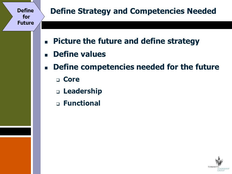 Define Strategy and Competencies Needed Picture the future and define strategy Define values Define competencies needed for the future  Core  Leader