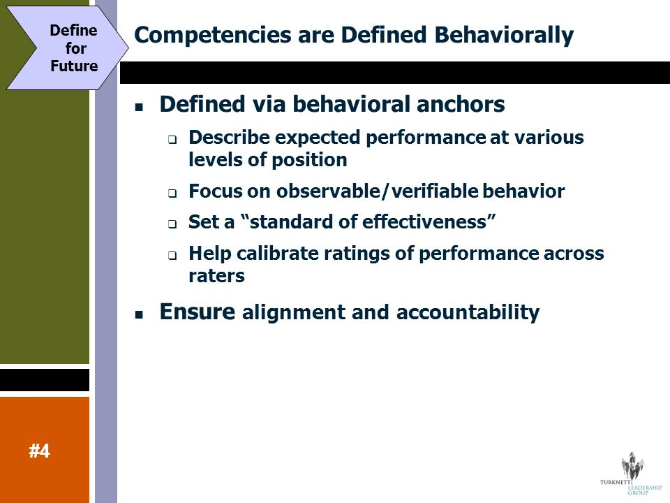 Competencies are Defined Behaviorally Defined via behavioral anchors  Describe expected performance at various levels of position  Focus on observab