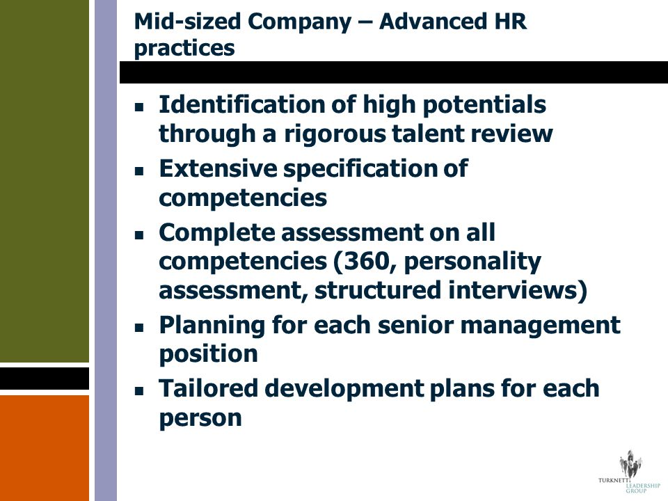 Mid-sized Company – Advanced HR practices Identification of high potentials through a rigorous talent review Extensive specification of competencies C